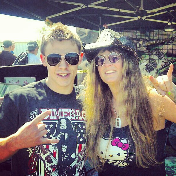 Jake with Rita Haney, the girlfriend of Dimebag Darrel Abbott.  Dimebag was the guitarist of Pantera who unfortunately was shot and killed on stage while performing in 2004.  Despite the tragic end, his legacy lives on today as one of the most respected and greatest metal musicians to ever grace this earth.