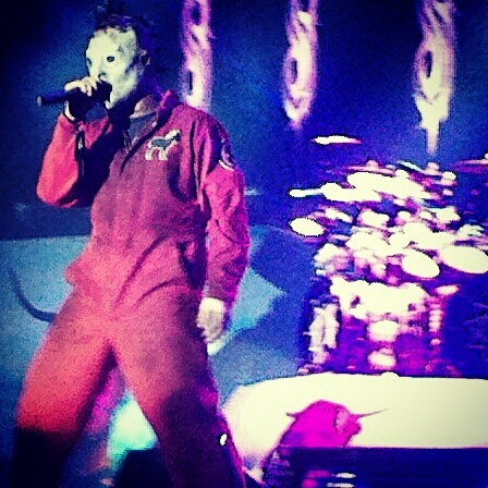 Corey Taylor of Slipknot as always giving it 110% on stage.  Photo by Jake Raflik.