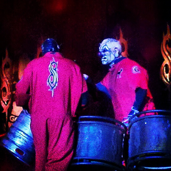 Sid Wilson and Clown of Slipknot on their drumset.  Photo by Jake Raflik.