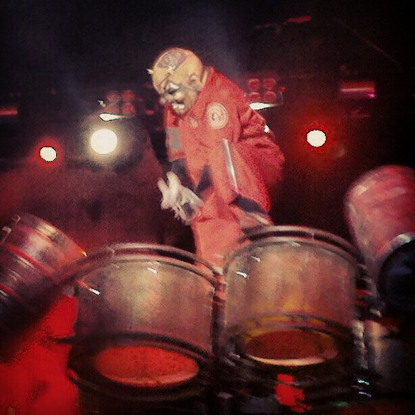 Clown of Slipknot pounding on his keg drums during the intense and amazing performance by Slipknot.  Photo by Jake Raflik