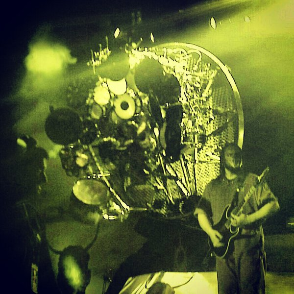 "Joey Jordison of Slipknot with his upside down drumset during the closing song ""Surfacing"".  Photo by Trevor Worzalla."