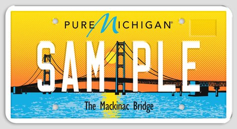 Michigan license plate featuring the Mackinac Bridge