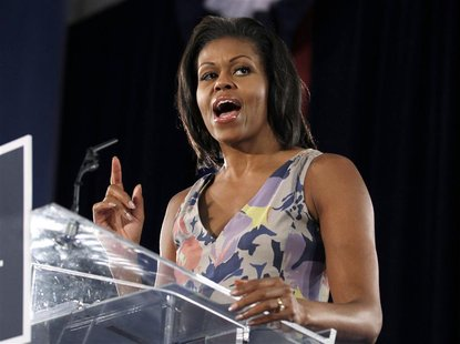 U.S. first lady Michelle Obama speaks to supporters of her husband Barack Obama's re-election campaign at a Fort Lauderdale Grassroots rally