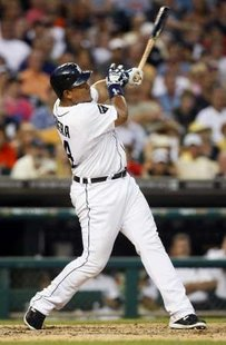 Detroit Tigers slugger Miguel Cabrera, whose solo home run in the 8th inning was his team's only run in a 2-1 loss to the LA Angels on Friday, August 24, 2012.