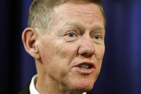 Ford Motor Company President Alan Mulally makes remarks during a news conference after the annual meeting of shareholders in Wilmington, Del