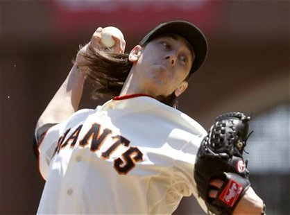 San Francisco Giants starting pitcher Tim Lincecum throws a pitch against the Washington Nationals during the second inning of the MLB baseb