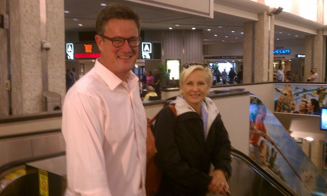 "Jerry Bader ran into Joe Scarborough and Mika Brzezinski from MSNB's ""Morning Joe"" at the Tampa airport"