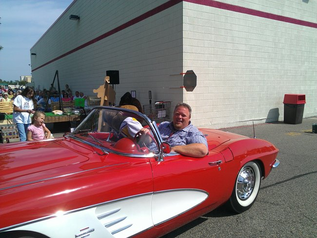 Bryan and Stevie going for a cruise in the 1961 Corvette