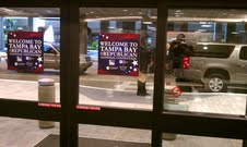 Republican National Convention banners line the Tampa, Florida airport in advance of the 2012 RNC.