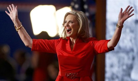 Ann Romney reacts after she addressed delegates during the second day of the Republican National Convention in Tampa, Florida August 28, 201