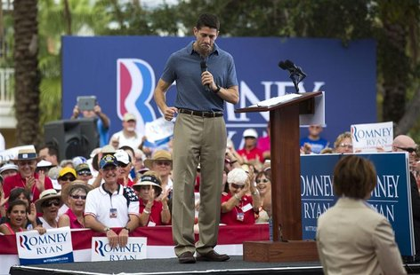 Republican vice presidential candidate Paul Ryan speaks during a campaign event at The Villages in Lady Lake, Florida in this August 18, 201