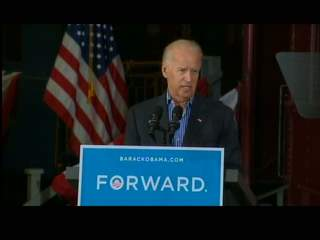 Vice President Joe Biden speaking during a campaign appearance at the National Railroad Museum in Ashwaubenon on Sept. 2, 2012. (courtesy of FOX 11).
