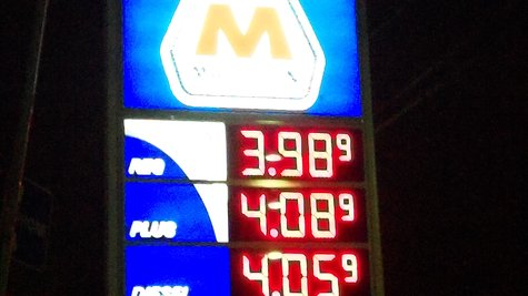 Gas prices last night at the Marathon on West Main in Kalamazoo.