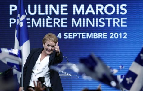 Parti Quebecois leader Pauline Marois addresses party supporters after winning a minority government in the Quebec provincial election in Mo