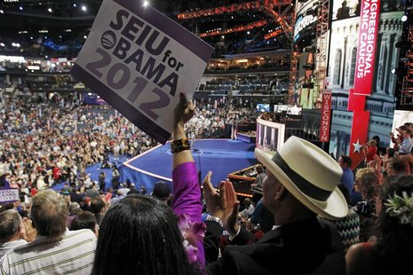 Delegates react during the first day of the Democratic National Convention in Charlotte, North Carolina, September 4, 2012. REUTERS/Jessica