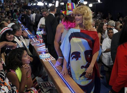 A delegate wears a dress bearing the likeness of U.S. President Barack Obama during the final session of the Democratic National Convention