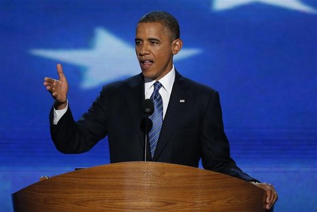 U.S. President Barack Obama accepts the 2012 U.S Democratic presidential nomination as he addresses delegates during the final session of th