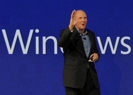 Microsoft CEO Steve Ballmer speaks at a Nokia phone launch, with Microsoft's Windows 8 operating system in New York, September 5, 2012. REUT