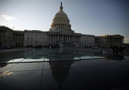 The U.S. Capitol building is seen hours before U.S. President Barack Obama is set to deliver his his State of the Union address to a joint s