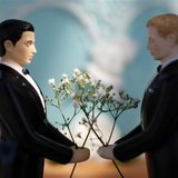 A same-sex wedding cake topper is seen outside the East Los Angeles County Recorder's Office on Valentine's Day during a news event for Nati