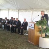 Dr Brian Ewert, Marshfield Clinic President speaks at Stevens Point groundbreaking ceremony 9-10-12