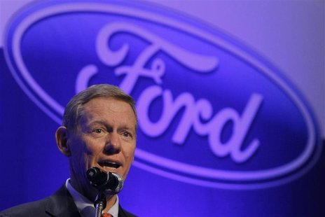Ford Motor Company President and Chief Executive Alan Mulally answers a reporter's question during a news conference at a hotel in Seoul Aug