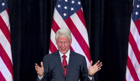 Former President Bill Clinton gives remarks as part of his campaign for President Barack Obama at a grassroots event at Florida Internationa
