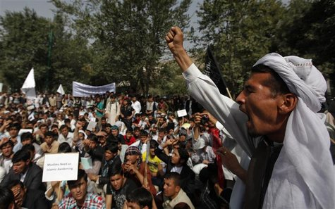 Afghan protesters shout slogans during a demonstration in Kabul, September 16, 2012. Hundreds of Afghans protested against a U.S.-made film