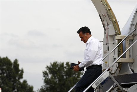 U.S. Republican presidential nominee and former Massachusetts Governor Mitt Romney steps off his campaign plane in Kansas City, Missouri, Se