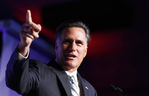 U.S. Republican presidential nominee and former Massachusetts Governor Mitt Romney addresses the U.S. Hispanic Chamber of Commerce in Los An
