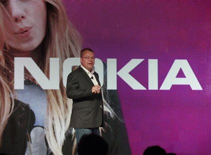 Nokia CEO Stephen Elop introduces new Nokia phones with Microsoft's Windows 8 operating system at an event in New York, September 5, 2012. R