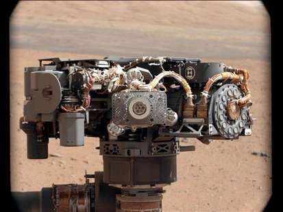 In this image taken by Curiosity's Mast Camera, the Alpha Particle X-Ray Spectrometer (APXS) on NASA's Curiosity rover is pictured, with the