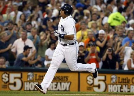 Detroit Tigers 3B Miguel Cabrera, who hit two home runs, including a grand slam, to help pace Detroit's 12-2 win over Oakland at Comerica Park on Tuesday, September 18, 2012 (REUTERS)