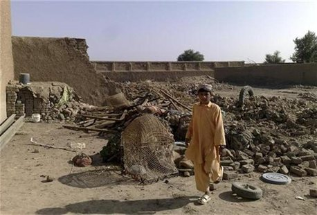 A boy stands at the site of suspected U.S. drone attacks in the Janikhel tribal area in Bannu district of North West Frontier Province Novem