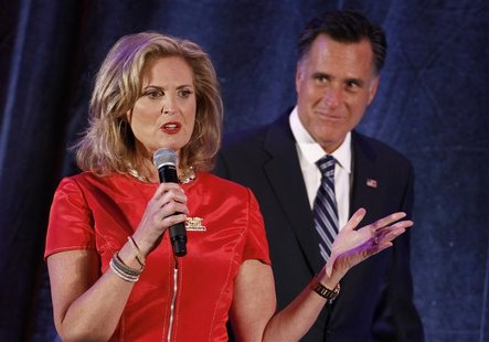 U.S. Republican presidential nominee and former Massachusetts Governor Mitt Romney (R) listens to his wife Ann speak at a campaign fundraise