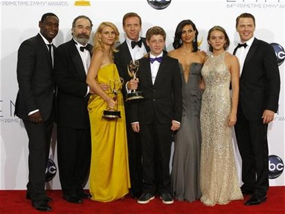 "The cast of ""Homeland"" L-R: David Harewood, Mandy Patinkin, Claire Danes, Damian Lewis, Jackson Pace, Morena Baccarin, Morgan Saylor and Die"