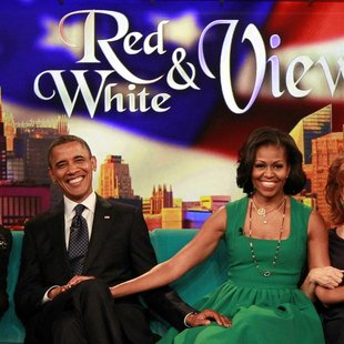 "U.S. President Barack Obama and first lady Michelle Obama take part in a taping of the ""The View"" chat show at ABC's studios in New York, Se"