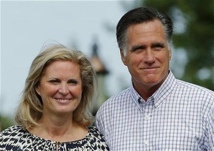 U.S. Republican presidential candidate and former Massachusetts Governor Mitt Romney and his wife Ann leave Brewster Academy in Wolfeboro, N