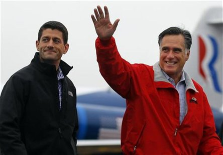 Republican presidential candidate and former Massachusetts Governor Mitt Romney is joined by vice-presidential candidate U.S. Congressman Pa