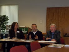 Wisconsin Tourism Secretary Stephanie Klett, and legislators Scott Suder and Terry Moulton in Marshfield Monday, 9-24-12 discussing the impact of tourism on Wood County and Wisconsin.