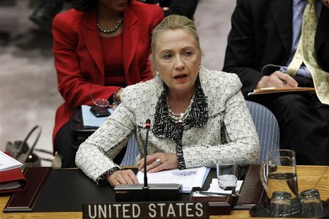 U.S. Secretary of State Hillary Clinton speaks during a Security Council meeting to discuss Peace and Security in the Middle East during the