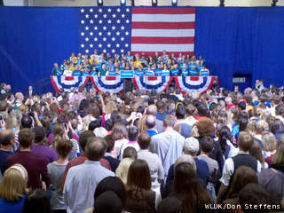 First Lady Michelle Obama speaks at Alexander Gym on the Lawrence University campus in Appleton, Sept. 28, 2012. (courtesy of FOX 11).