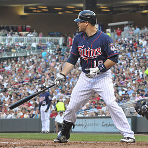 Minnesota Twins DH Ryan Doumit, who drove in all 4 Minnesota runs in a 4-2 Twins win over Detroit at Target Field on Friday, September 28, 2012.