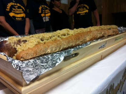 65 pound, 6-foot-long bratwurst at Octoberfest 2012 in La Crosse Wisconsin, made by Bakalars Sausage Co. as a fundraiser for the American Legion.
