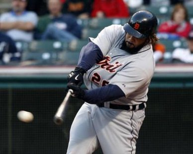 Detroit Tigers 1B Prince Fielder connects on a two-run homer, enabling the Bengals to win at Minnesota on Sept. 30, 2012, 2-1. (photo courtesy Detroit Tigers)