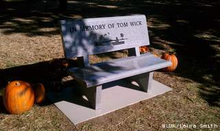 The family of murder victim Thomas Wick of Howard dedicated this bench in his memory Saturday, September 29, 2012. (courtesy of FOX 11).