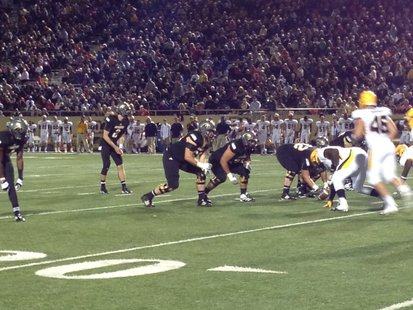 Western Michigan QB Tyler Van Tubbergen awaits the snap against the Toledo Rockets. September 29, 2012 at Waldo Stadium.
