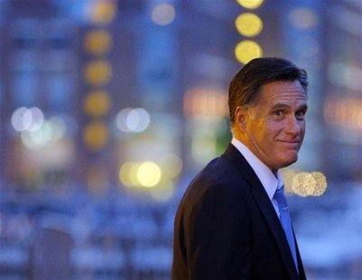 Republican presidential candidate and former Massachusetts Governor Mitt Romney departs his campaign headquarters in Boston, Massachusetts S