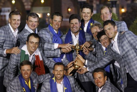 Team Europe golfers (front row L-R) Nicolas Colsaerts, Sergio Garcia, and Graeme McDowell and (back row L-R) Ian Poulter, Paul Lawrie, Franc