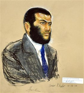 A courtroom sketch shows defendant Omar Khadr, a native of Toronto, Canada, listening to testimony during his sentencing hearing at the Guan